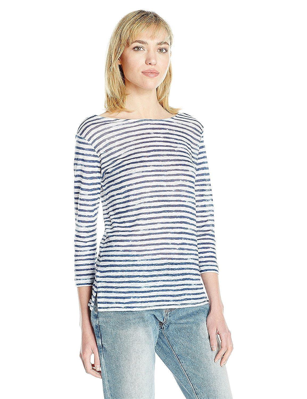 Majestic Filatures Women's Linen 3/4 Sleeve Parisian Stripe Boat Neck Tee Blanc/Indigo 1 [並行輸入品] B075CH6K2T