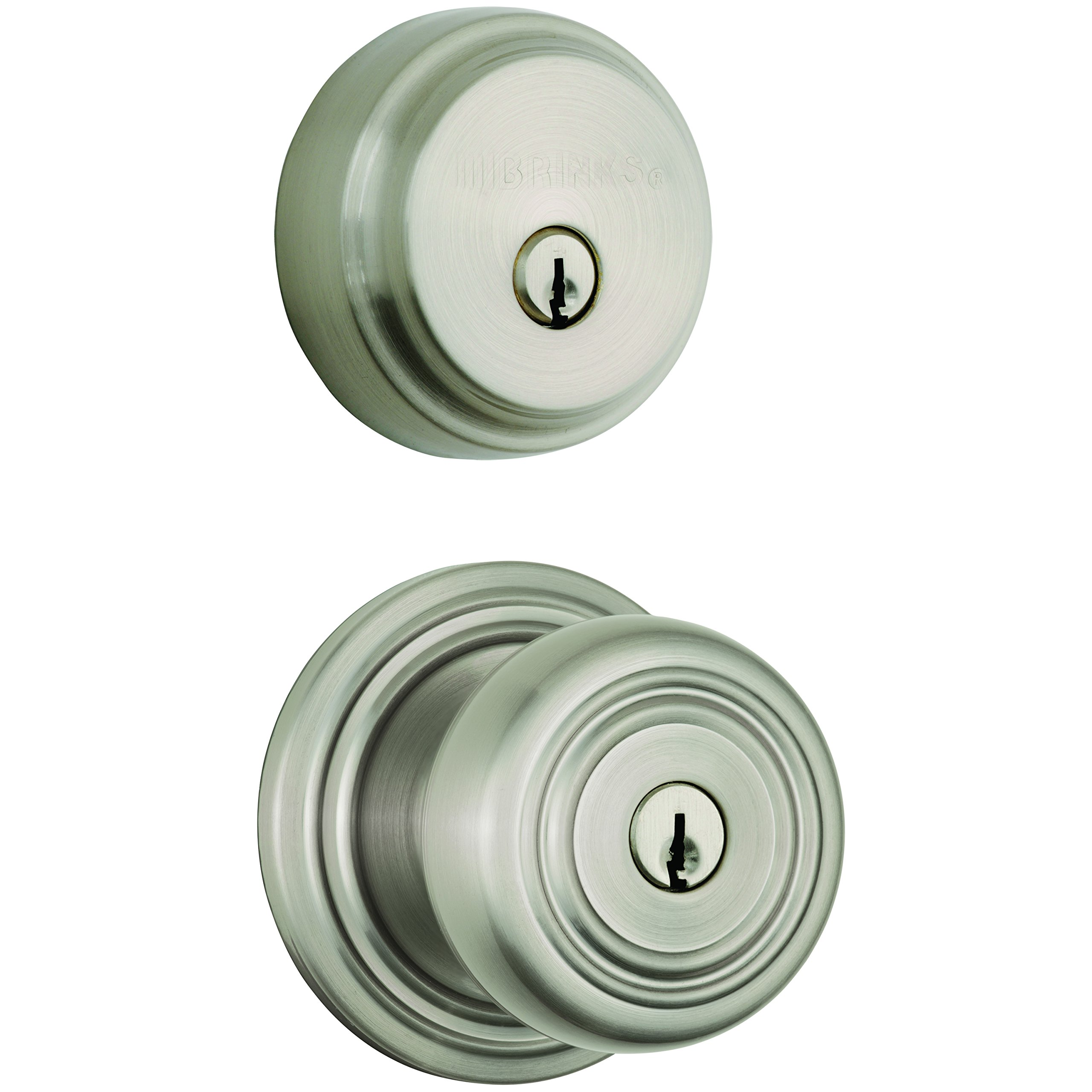 Brinks Push Pull Rotate Door Locks Webley Combination Pack with Entry Knob and Deadbolt, Satin Nickel, 23084-119