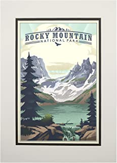 product image for Rocky Mountain National Park, Colorado - Lake - Lithograph (11x14 Double-Matted Art Print, Wall Decor Ready to Frame)