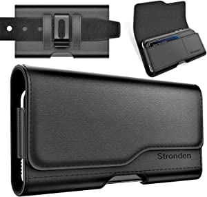 Stronden Holster for iPhone 12, 12 Pro, 11, XR Holster - Leather Belt Case with Belt Clip/Loop [Magnetic Closure] Premium Pouch w/Built in ID Card Holder (Fits Otterbox Aneu/Symmetry Case on)