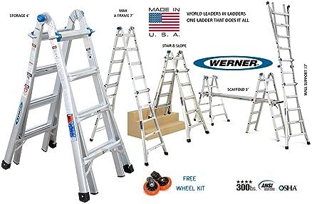 werner usa mt series model 17 4ft to 17ft aluminium step ladder multi folding