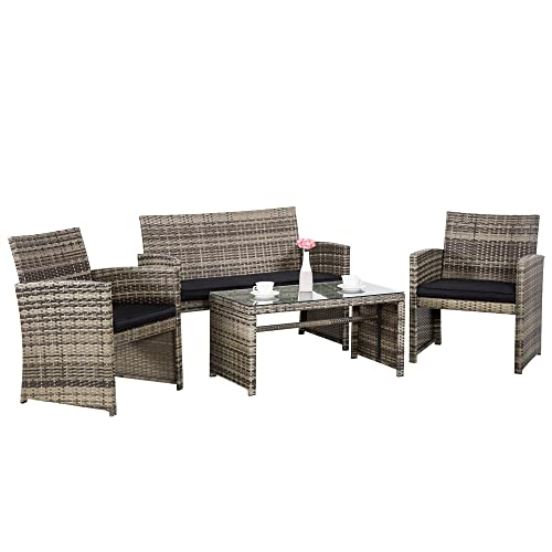 Cloud Mountain Outdoor Conversation Set 4 Piece Wicker Patio Outdoor Furniture Set Rattan Sofa Set Durable Modern Style Easy Assembly Comfortable Patio Lawn Garden Balcony Backyard Mix Grey