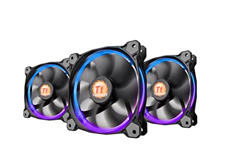 Thermaltake Riing 12 RGB LED 120mm High Static Pressure Adjustable Color  Case Radiator Fan with Anti-Vibration Mounting System Cooling   Triple Pack