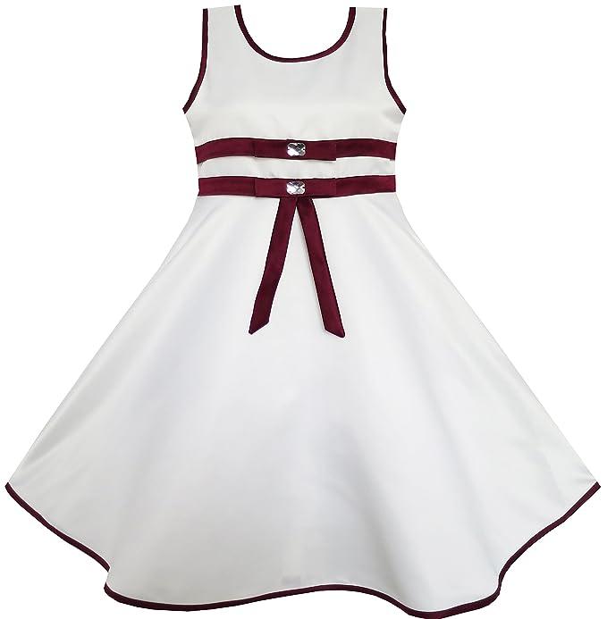d9498b2c5 Sunny Fashion Vestido para niña Blanco Alineado Distinguido Boda Flor  Pageant niños Ropa 11-12
