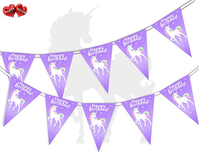 Unicorn Happy Birthday Bunting Banner 15 Flags Perfect for Party by PARTY DECOR