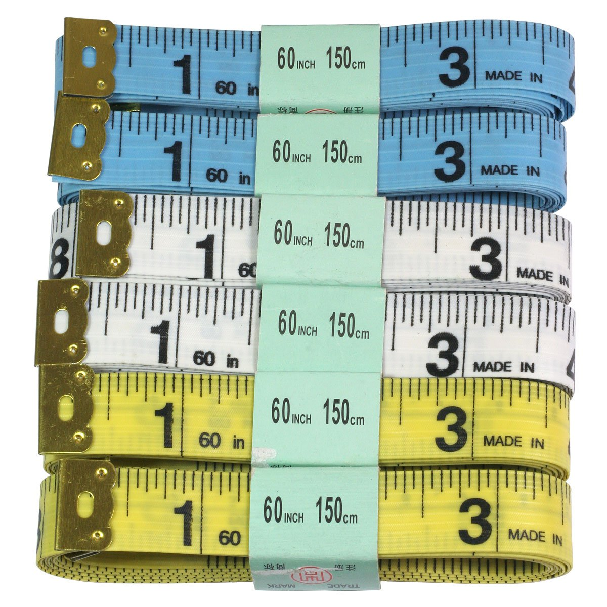 HTS 103D3 6 Pc 60/150cm Sewing Tape Measure Hobby Tool Supply