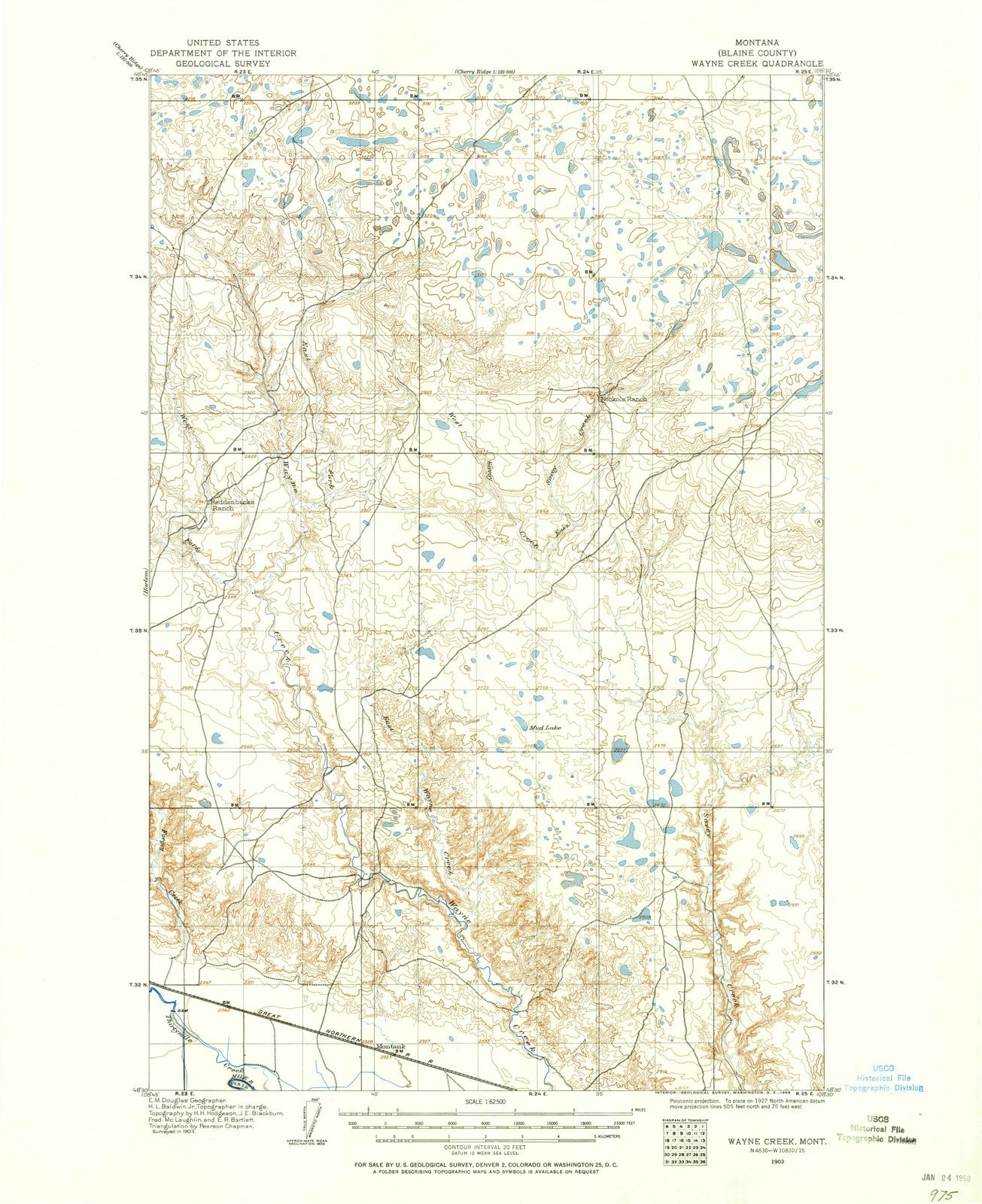 Montana Maps - 1903 Wayne Creek, MT USGS Historical Topographic Map - Cartography Wall Art - 44in x 55in by Historic Pictoric