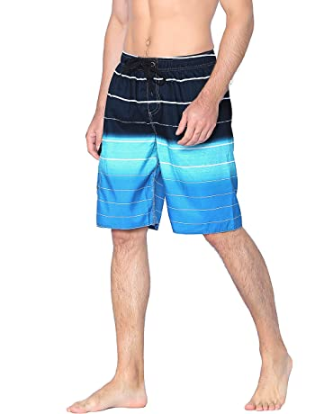8078b5373785f Unitop Men's Swim Trunks Colortful Striped Beach Board Shorts with Lining