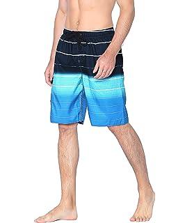 8e2df090da20 Unitop Men's Swim Trunks Colortful Striped Beach Board Shorts with Lining