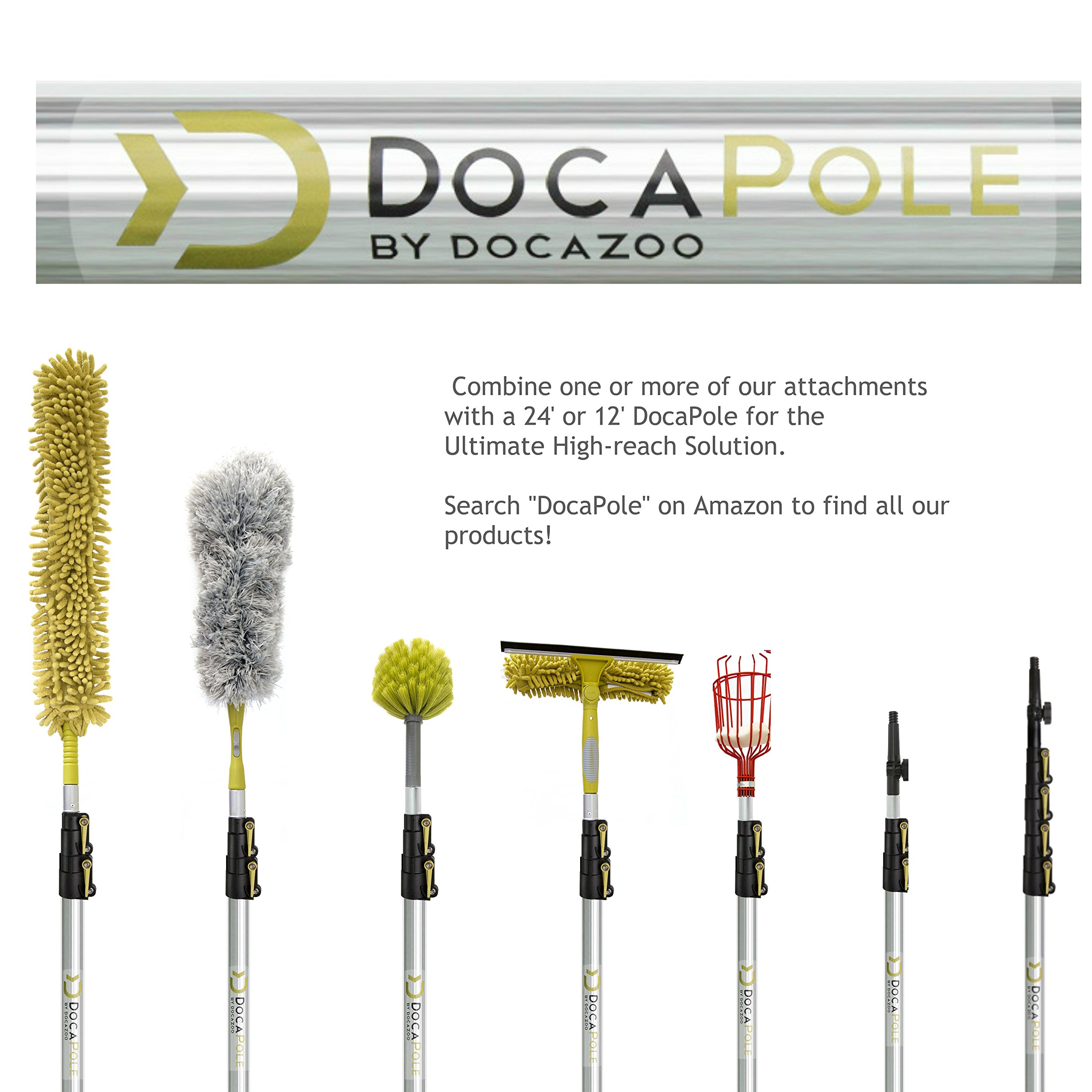 DocaPole Dusting Kit for Extension Pole or by Hand | Cleaning Kit Includes 3 Dusting Attachments | Cobweb Duster | Microfiber Feather Duster | Flexible Chenille Ceiling Fan Duster by DOCAZOO (Image #7)