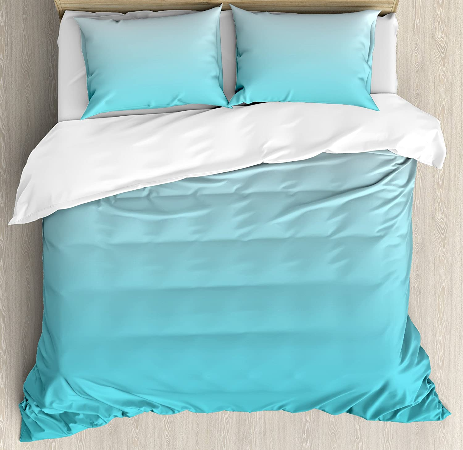 Ambesonne Ombre Duvet Cover Set, Deep Maldives Sealife Ocean Inspired Aquatic Color Modern Design Digital Art, Decorative 3 Piece Bedding Set with 2 Pillow Shams, Queen Size, Turquoise White