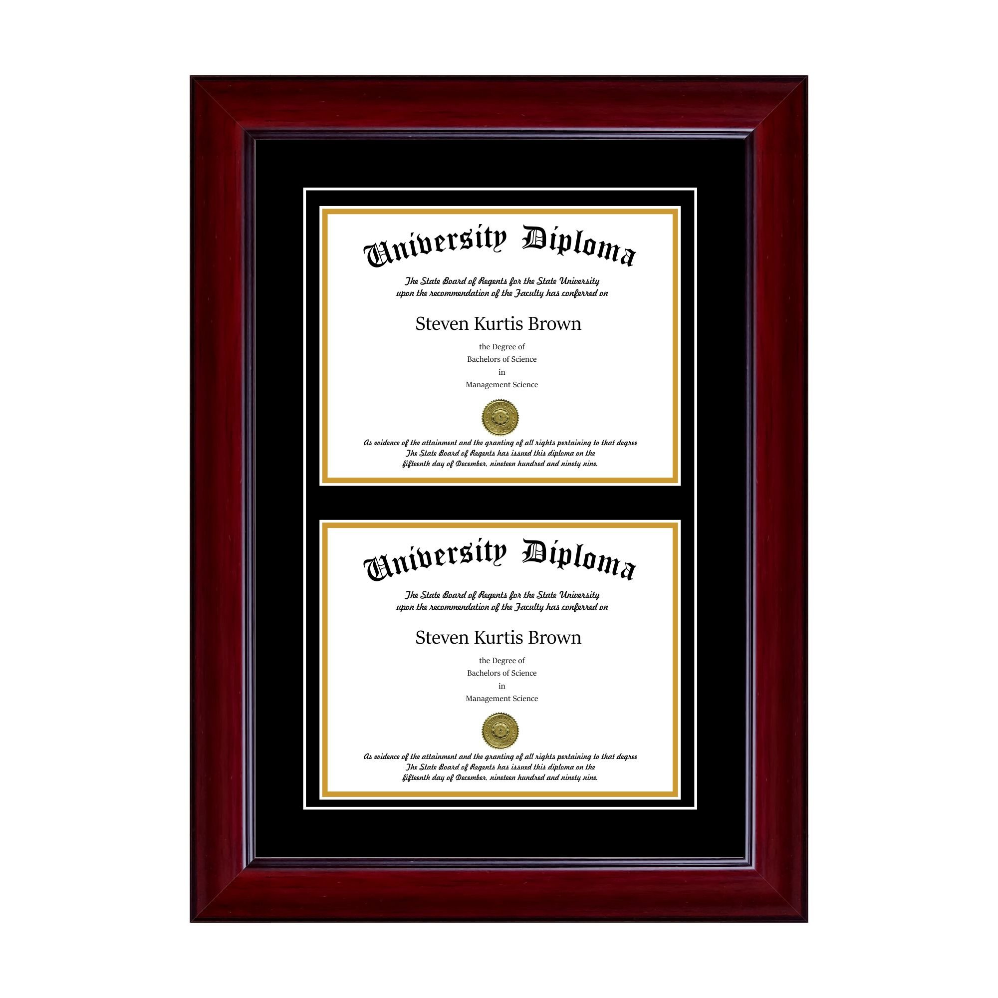 Double Diploma Frame with Double Matting for 8.5'' x 11'' Tall Diploma with Mahogany 2'' Frame