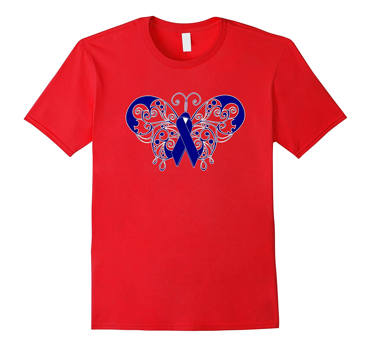 Colon Cancer Awareness Support Blue Ribbon Butterfly T Shirt-RT
