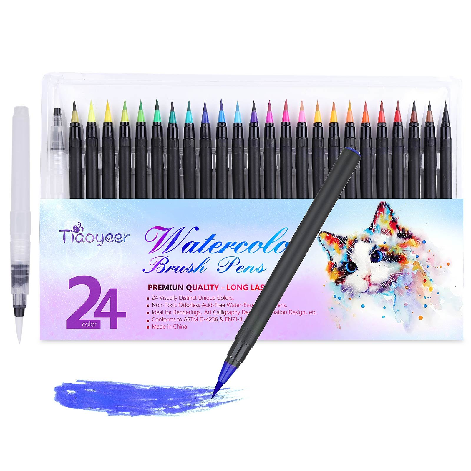 Watercolor Brush Pens Set - Tiaoyeer 24+ 1 Refillable Watercolor Paint Markers for Adult Coloring Books, Painting, Drawing, Comic, Calligraphy, Non Toxic Watercolor Paint, Safe for Kids