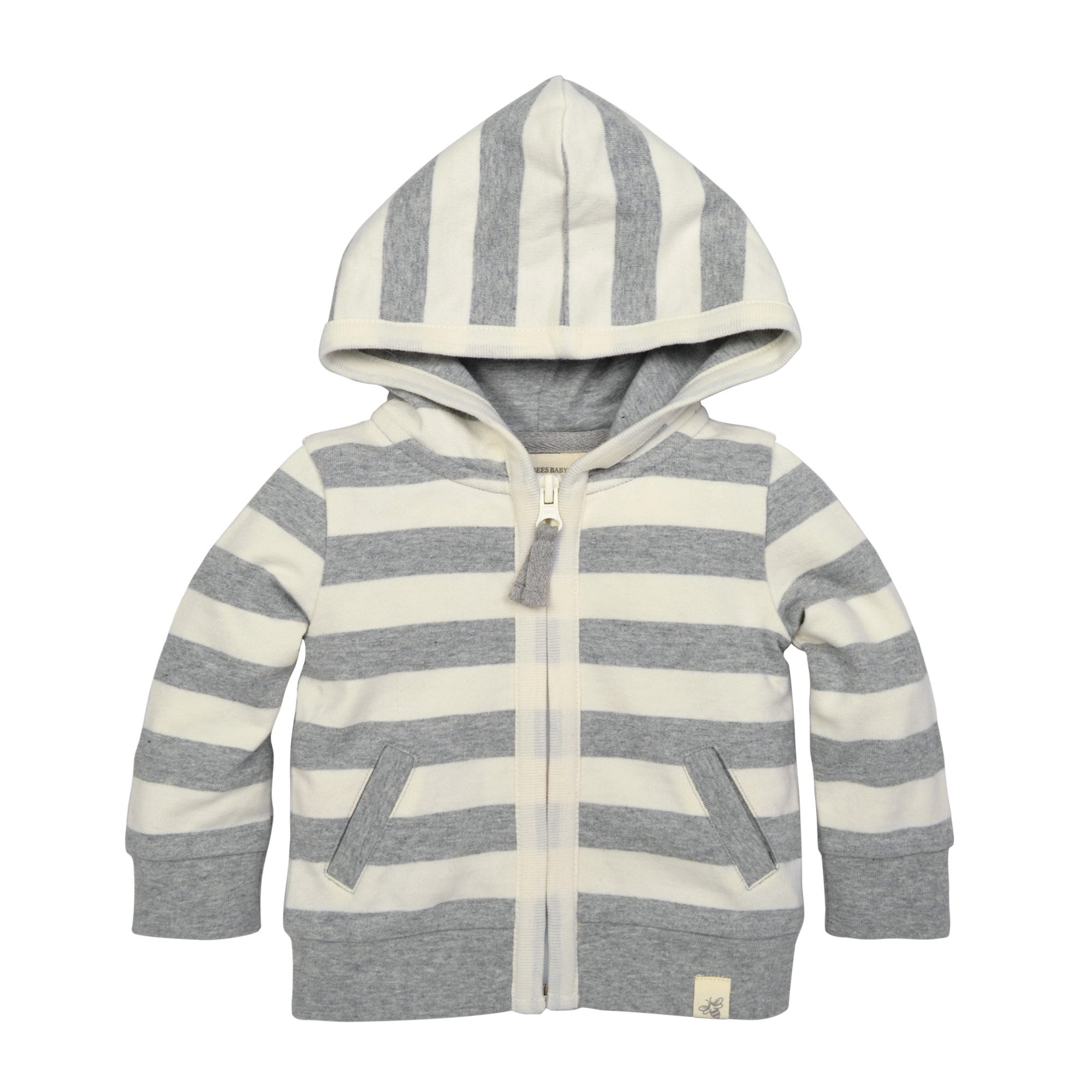 Burt's Bees Baby Unisex Baby Sweatshirt, Zip Front Hoodie Sweater, 100% Organic Cotton, Heather Grey French Terry Stripe, 18 Months