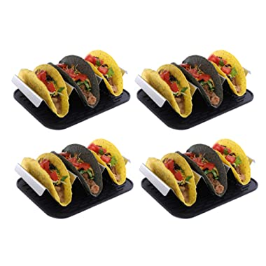 Premium stainless steel taco holder with placement mat | Set of four | Each rack holds 3 tacos | Perfect taco stand for your taco bar | Taco truck style taco plates | Grill, Oven, Dishwasher safe |