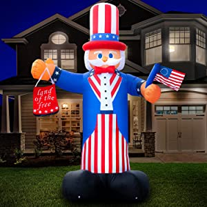 Holidayana 10ft Uncle Sam 4th of July Inflatable - Fourth of July Inflatable Outdoor Decoration, Independence Day Uncle Sam Yard Decor, Bright Lights, Built-in Fan, and Included Stakes and Rope