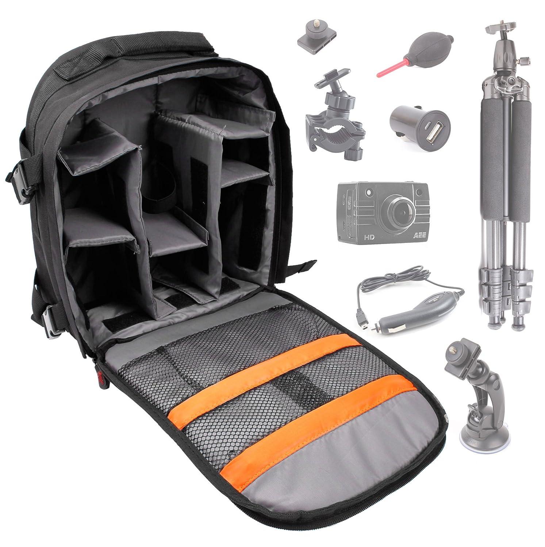 Sac à dos de protection résistant à l'eau DURAGADGET pour caméscopes compacts PNJ Cam AEE SD18, SD19, AEE SD21 et AEE SD23 Caméra de sport embarquée et ses accessoires - avec compartiments de rangement