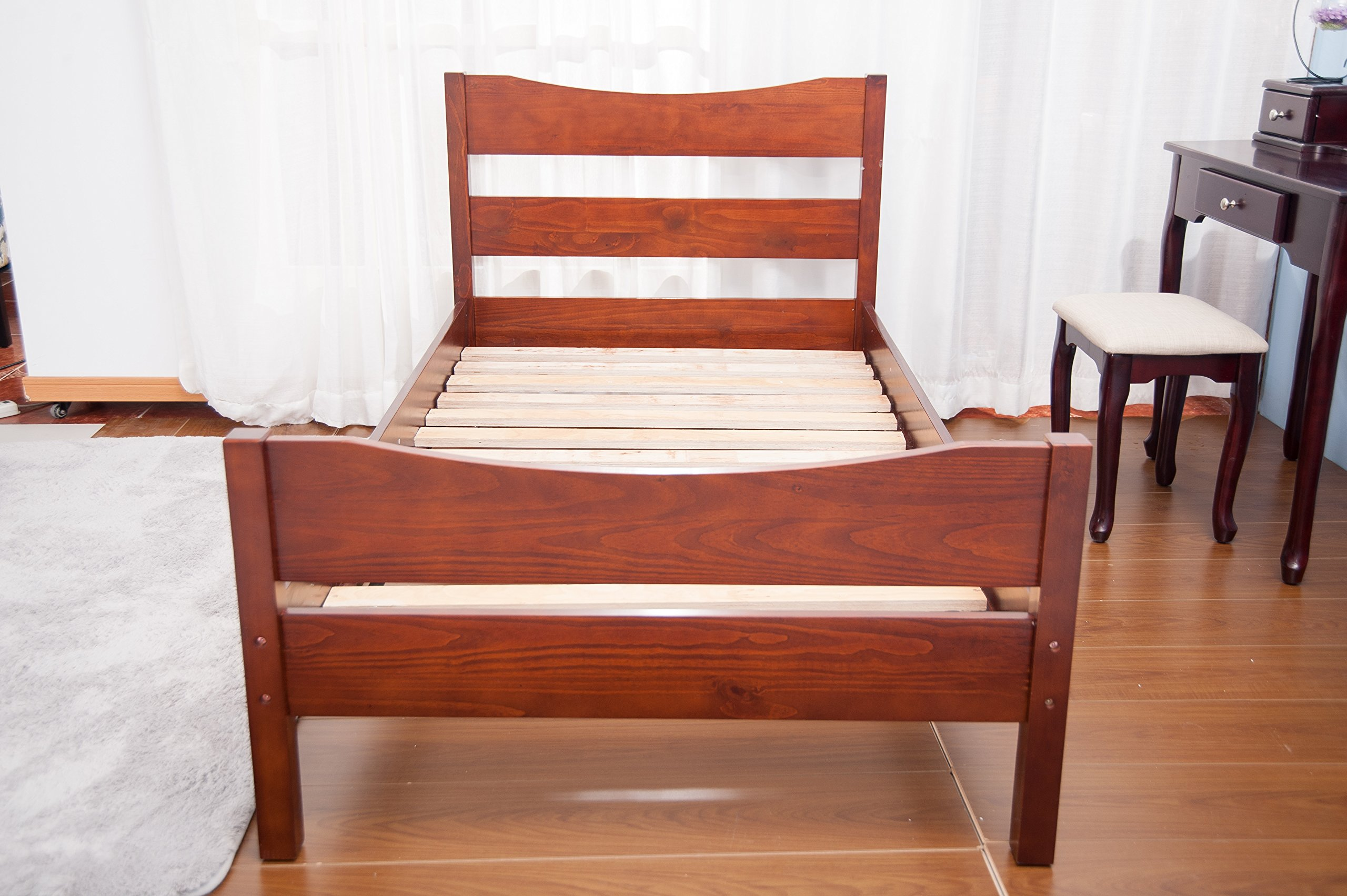 Merax Wood Platform Bed Frame with Headboard / No Box Spring Needed / Wooden Slat Support / Espresso Finish (-Walnut-) by Merax. (Image #2)