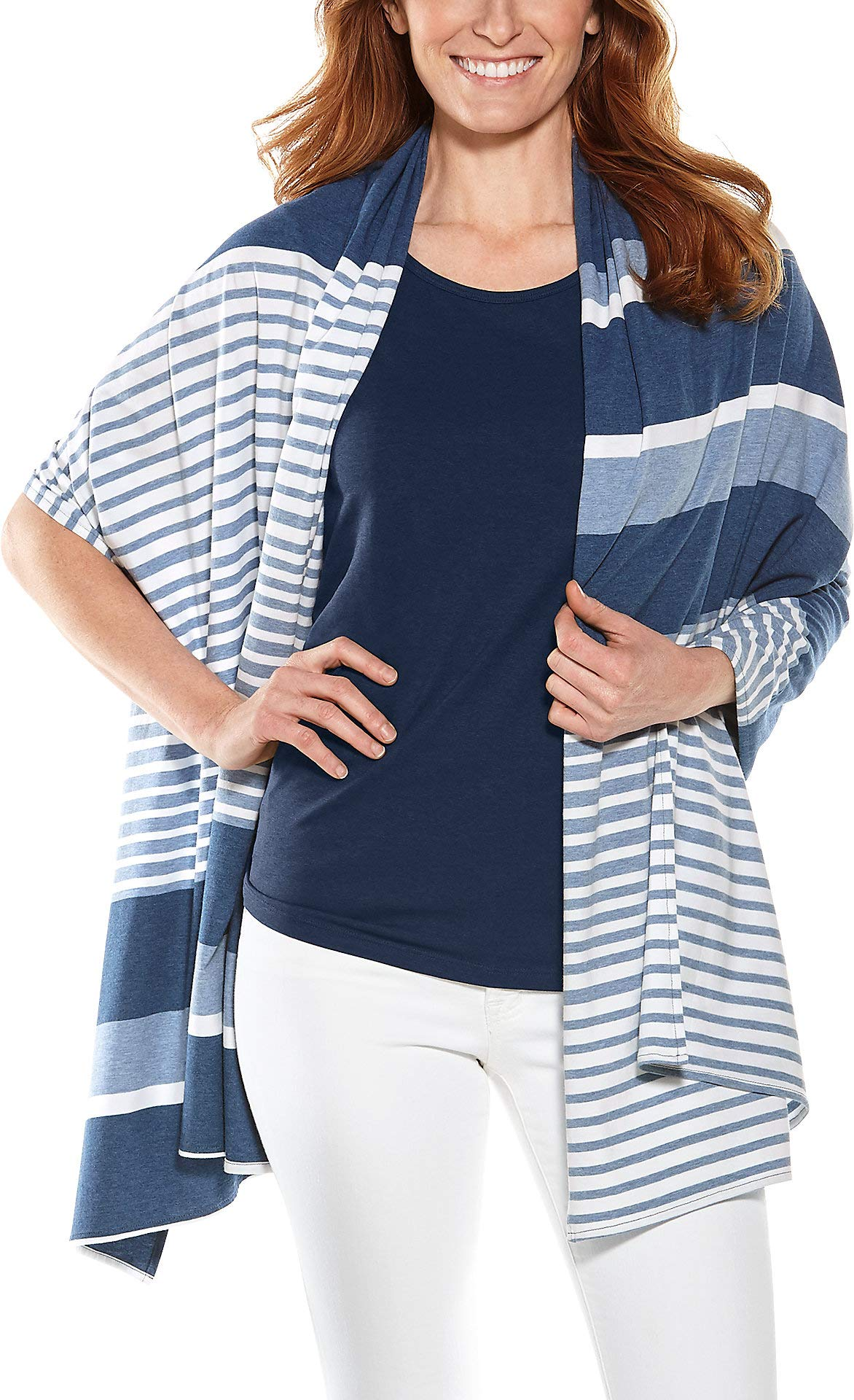 Coolibar UPF 50+ Women's Everyday Beach Shawl - Sun Protective (One Size- Blue Variegated Stripe)