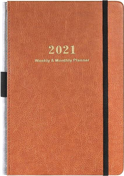 Calendrier 2021 A5 Agenda 2021   Agenda Hebdomadaire et Mensuel avec Autocollants de