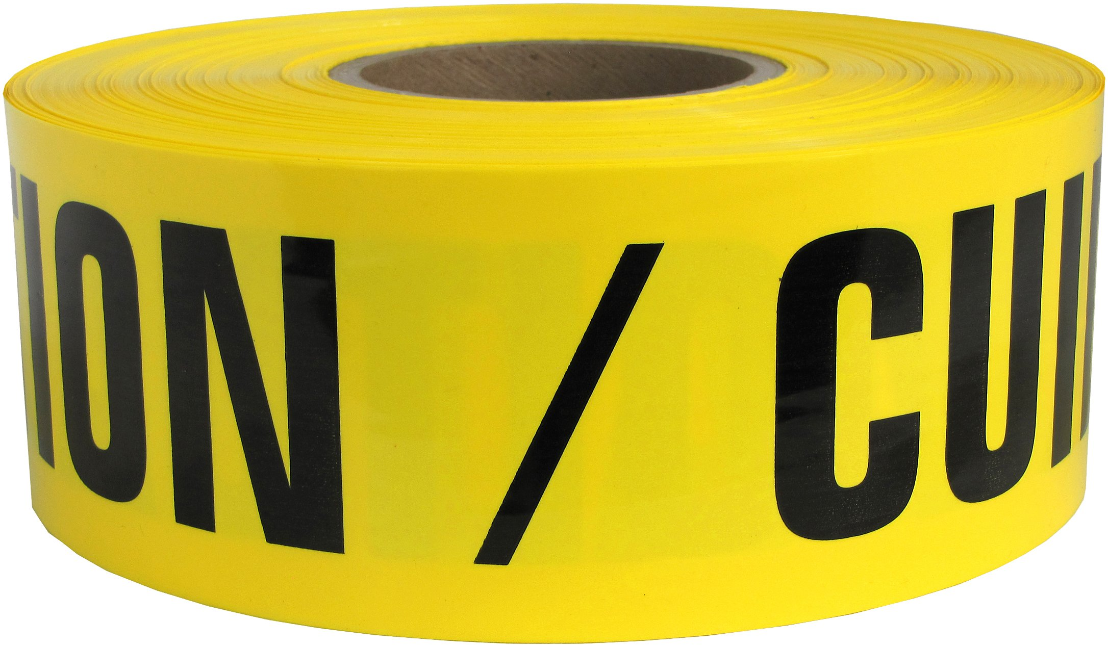 Presco B3103Y13-658 1000' Length x 3'' Width x 3 mil Thick, Polyethylene, Yellow with Black Ink Barricade Tape, Legend ''Caution Cuidado'' (Pack of 8)