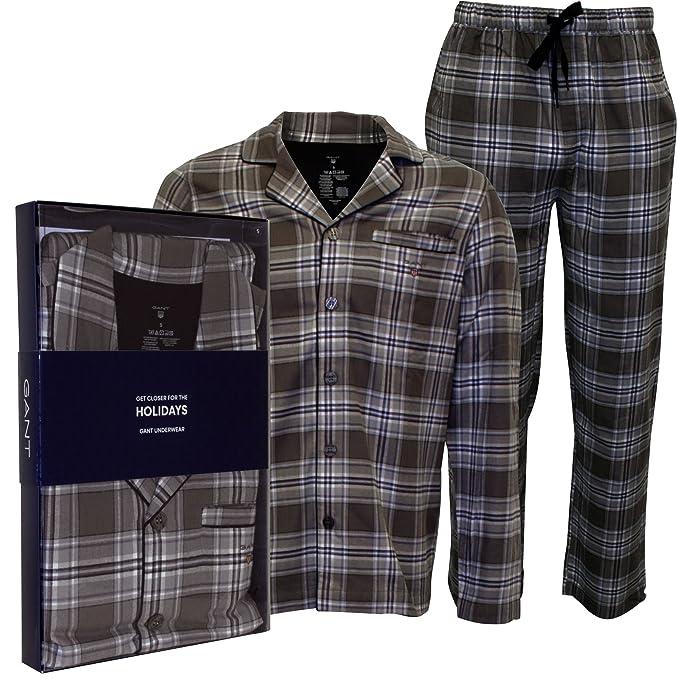 Gant Pijama Cepillado Franela Check Hombres Configurar Cheque De Regalo Caja, Gris Medio