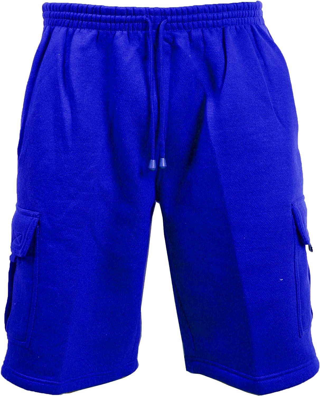 S-5XL Guytalk Mens Solid Fleece Cargo Sweat Shorts
