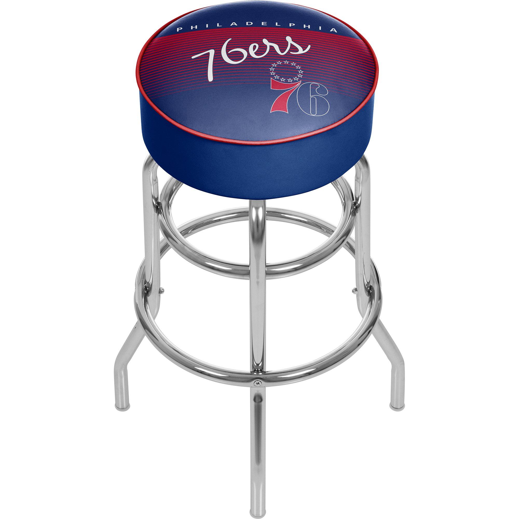Trademark Global NBA Philadelphia 76ers Hardwood Classics Bar Stool, One Size, Chrome