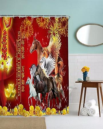 A.Monamour Duschvorhänge Chinesische Frühling Festival Saison Grüße ...