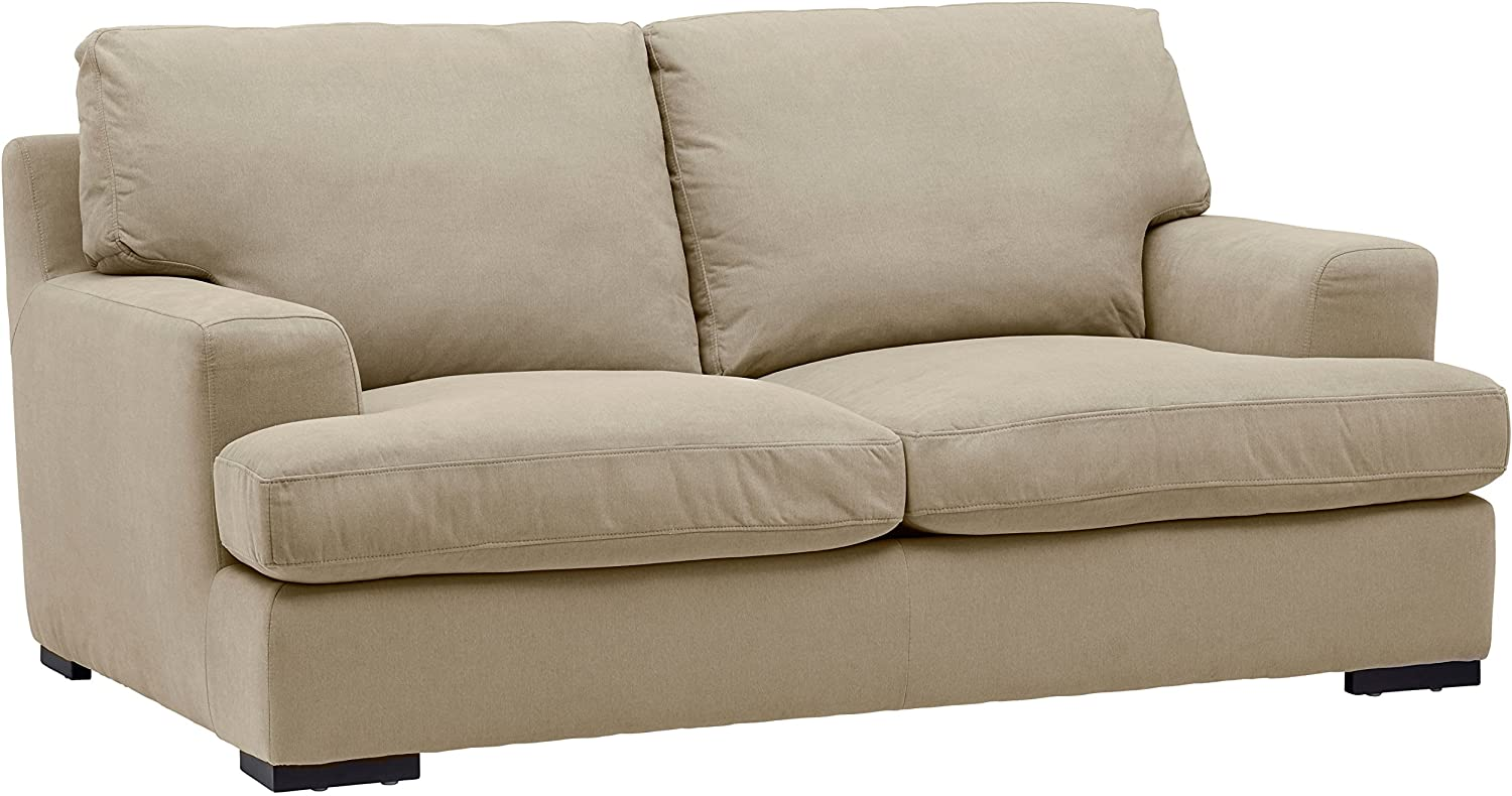 "Stone & Beam Lauren Down-Filled Oversized Loveseat with Hardwood Frame, 74""W, Fawn"