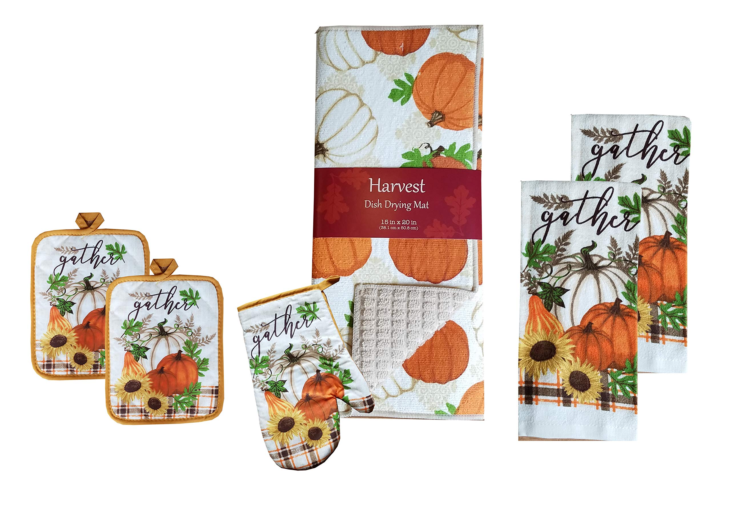 Fall Pumpkins, Sunflowers Kitchen Linens - Two Towels, 1 Oven Mitt, 2 Potholders, 1 Dish Drying Mat - 6 Piece Set