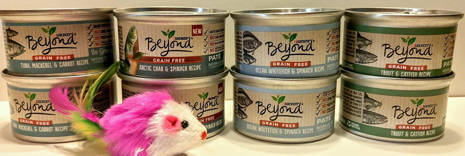 Purina Beyond Natural Grain Free Wet Cat Food FISH VARIETY BUNDLE- (4) Flavors (2) of each flavor Total 8 - 3 oz. cans, Includes BONUS cat toy (color may vary)