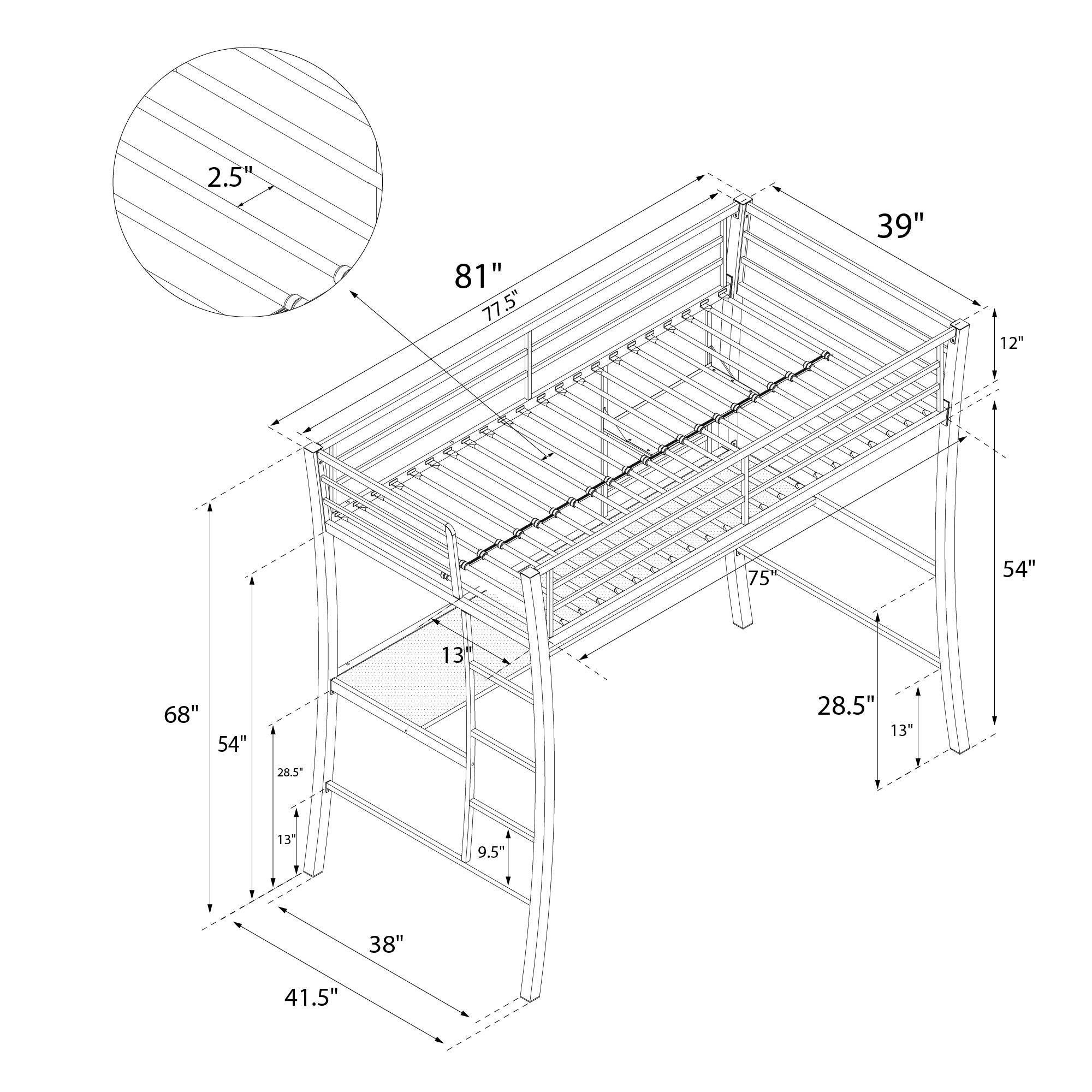 Novogratz Brett Twin Loft with Desk and Shelf, Contemporary Space-Saving Design, Sturdy Metal Frame with Metal Slats, Twin Size, Gunmetal Gray