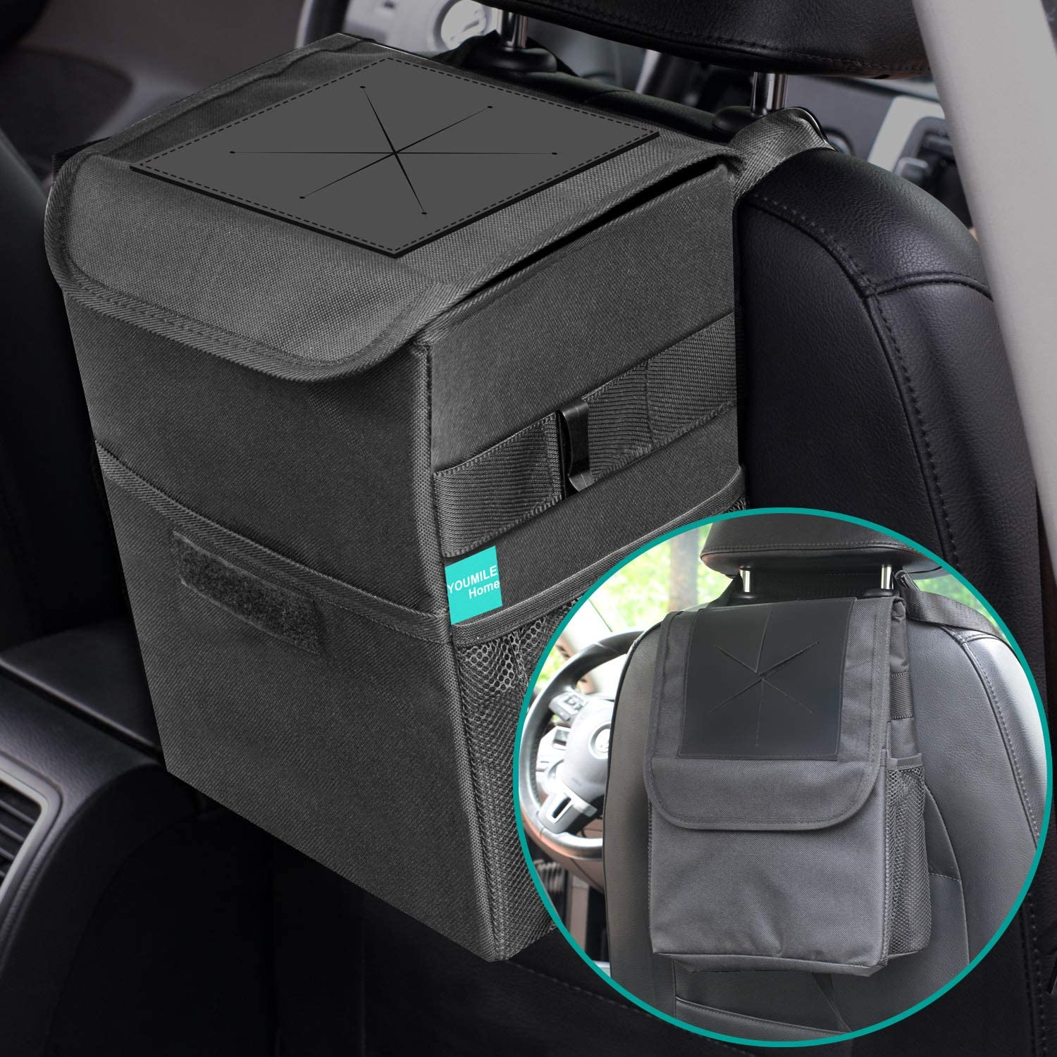 YOUMILE Car Trash Can with Lid 2.65 gal Trashcan Car Garbage Trash Bag Hanging with Storage Pockets Collapsible Portable Leakproof Waterproof Vinyl Inside Lining