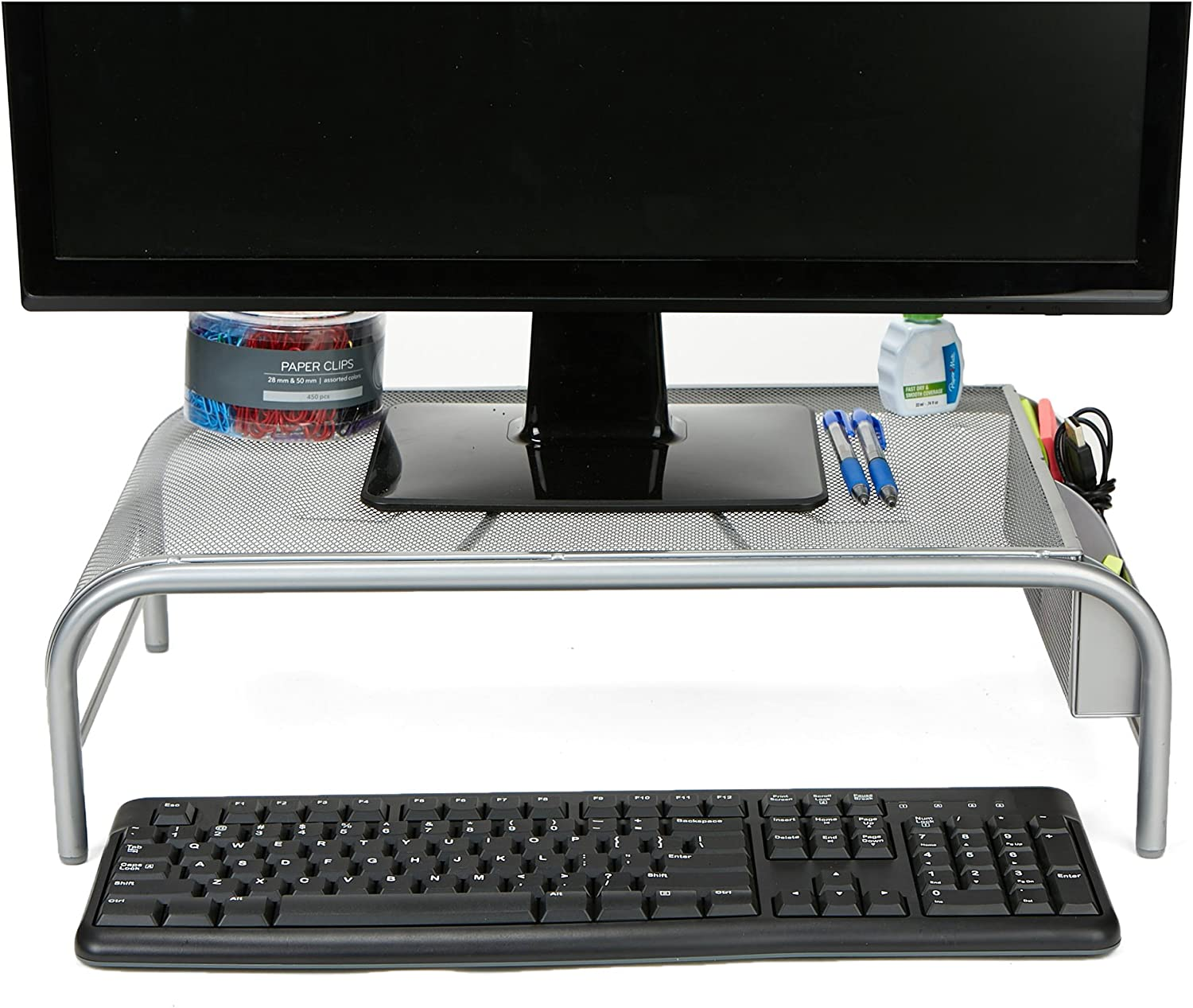 Mind Reader Monitor Stand, Laptop Riser with 2 Storage Compartments, Metal Mesh, Silver