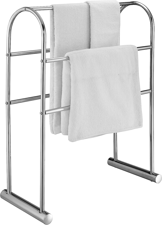 MyGift Chrome-Plated 5 Bar Towel Stand Organizer, 32-Inch Freestanding Bath Drying Rack
