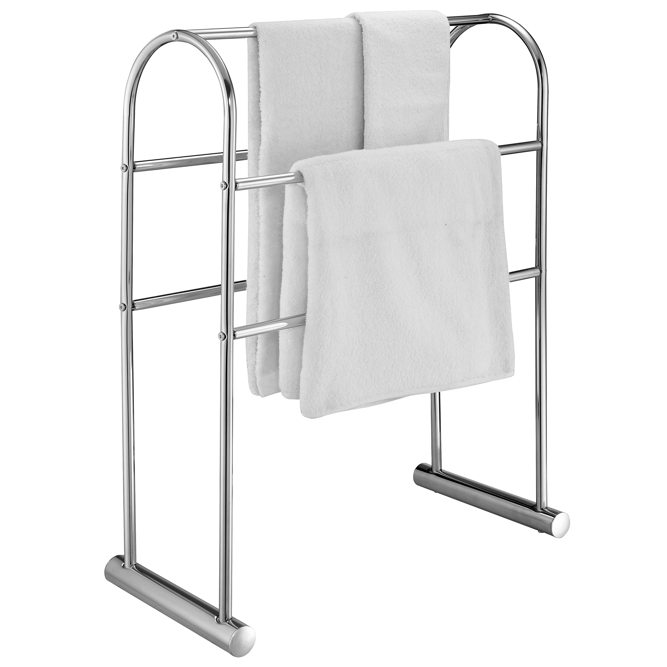 Chrome-Plated 5 Bar Towel Stand Organizer, 32-Inch Freestanding Bath Drying Rack