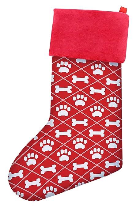 christmas stockings dogs christmas dog bone pawprint pattern christmas stockings dog lovers gift christmas stocking red - Amazon Christmas Stockings