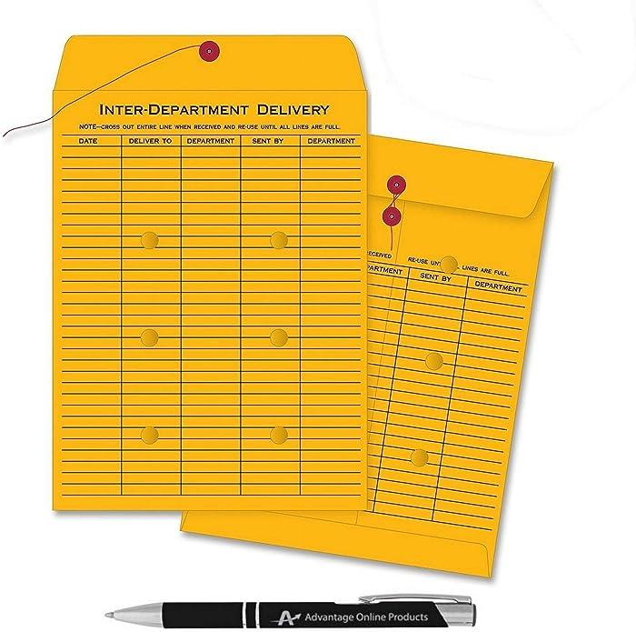 10 Pack Inter Office Inter-Departmental Envelopes with Free Custom AdvantageOP Black & Chrome Retractable Pen, Black Ink (10 x 13)
