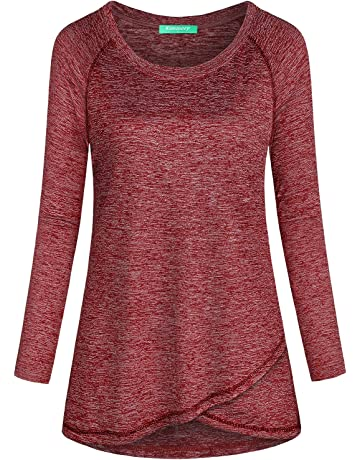 060c5baaa14 Kimmery Woman Raglan Sleeve Round Neck Irregular Hem Yoga Workout Shirt