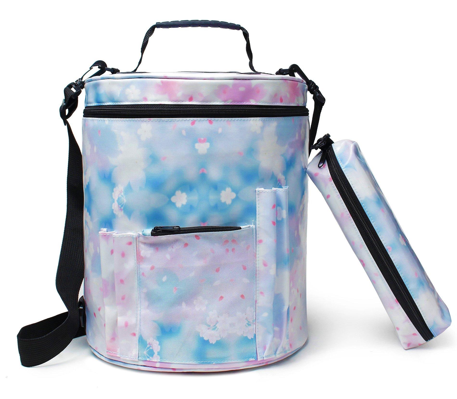 goldwheat Knitting Bag Waterproof Yarn Storage Organizer Bag Large Crochet Bag with Knitting Accessories Case,Blue
