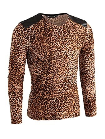 fe5244151d4a uxcell Mens V Neck Long Sleeve Leopard Prints Splicing Top S Beige,brown