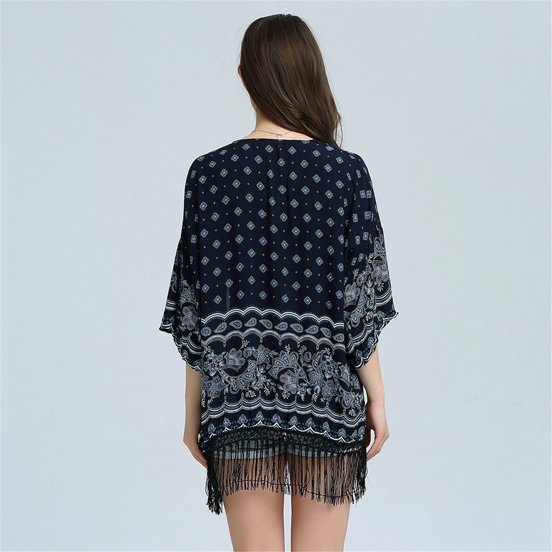 Amazon.com: Eloise Isabel Fashion Mulheres Tops E Blusas de verão Praia Desgaste Da Marinha Do Vintage Kimono Cardigan Tribal Impressão Frente Aberta Boho ...
