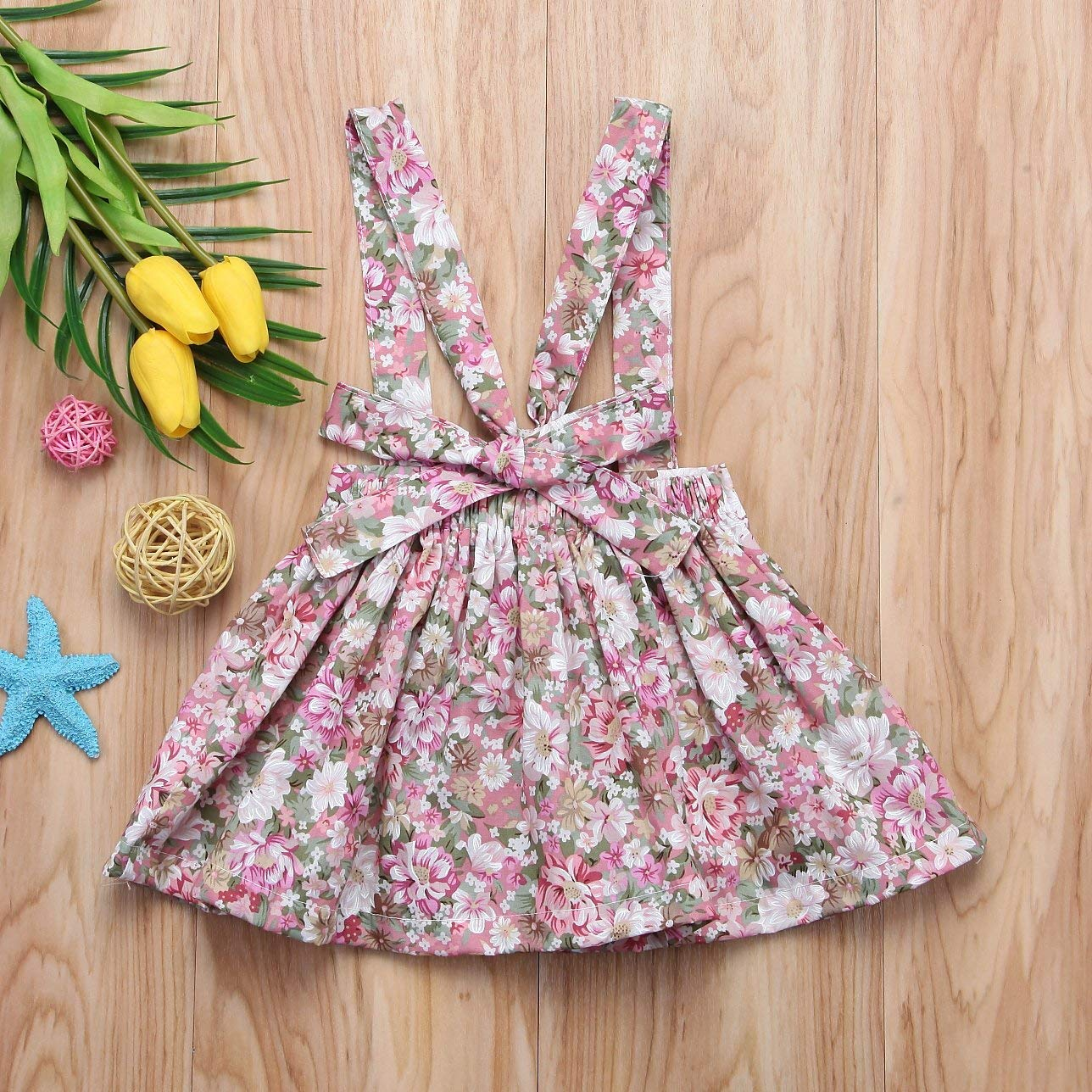 douleway Baby Floral Braces Suspenders Skirt Infant Toddler Ruffled Casual Underwire Summer Dress Summer Outfit Clothes