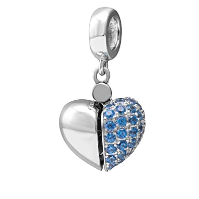 I Love You - Silver Heart Charm - Sterling Silver 925 Charm Bead 9vnbU