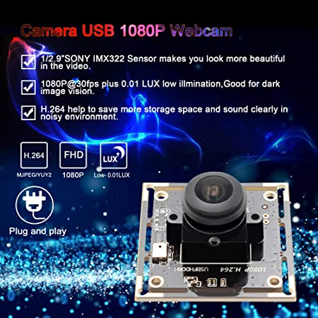 Camera USB 1080P Webcamera Sony IMX322 Sensor Webcam Wide Angle Fisheye Camera 180 Degree 2 MP Industrial USB Camera Module Full HD H.264 Video Camera 0.01lux Low Illumination Low Light USB Camera