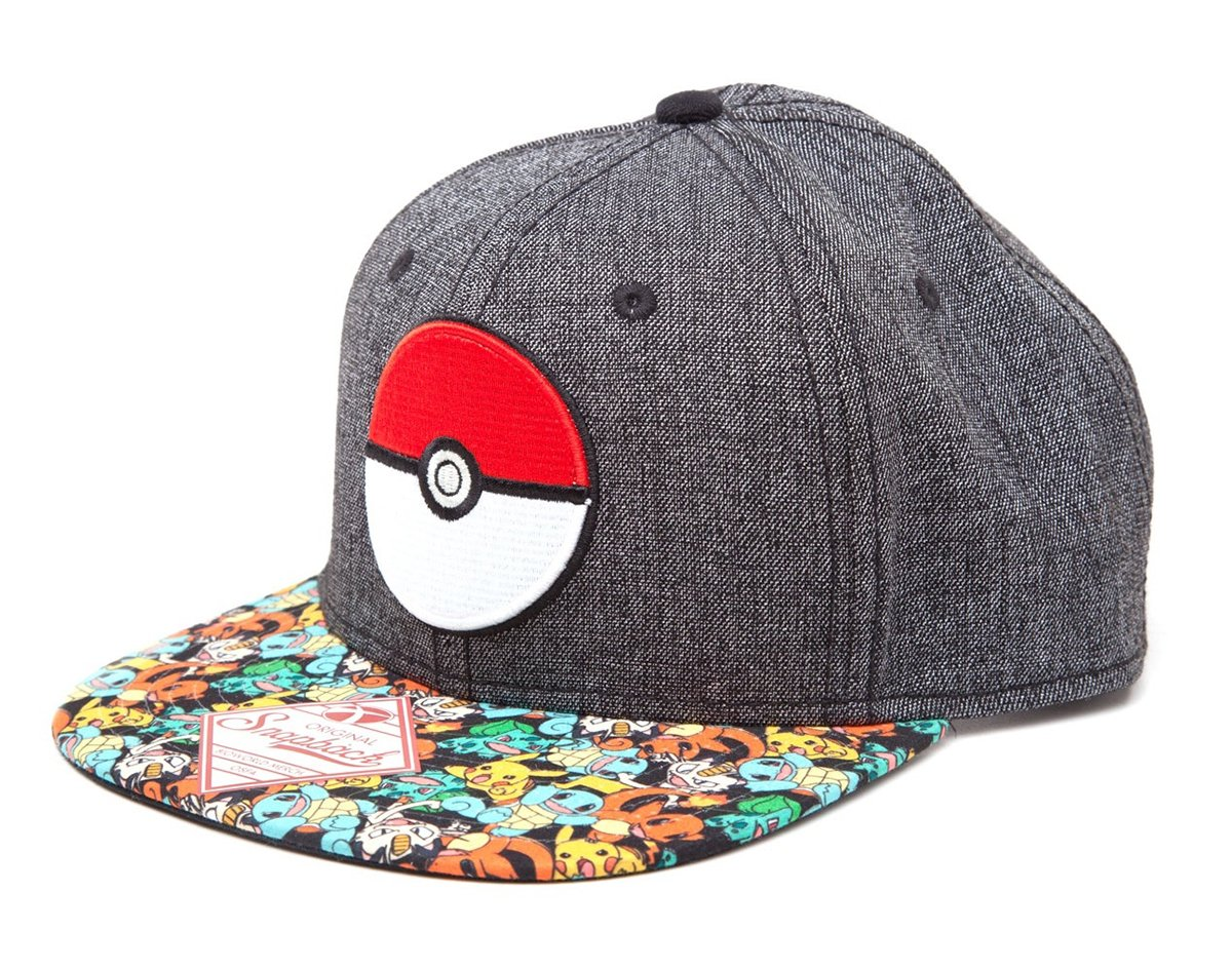 POKEMON Unisex Poke Ball Flat Cap, Grey, One Size SB2H6EPOK