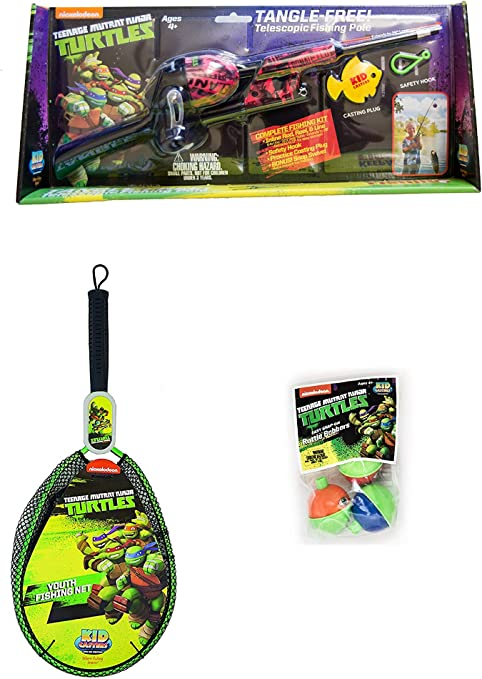 Teenage Mutant Ninja Turtles Telescopic No Tangle Fishing Rod//Reel Combo Blue