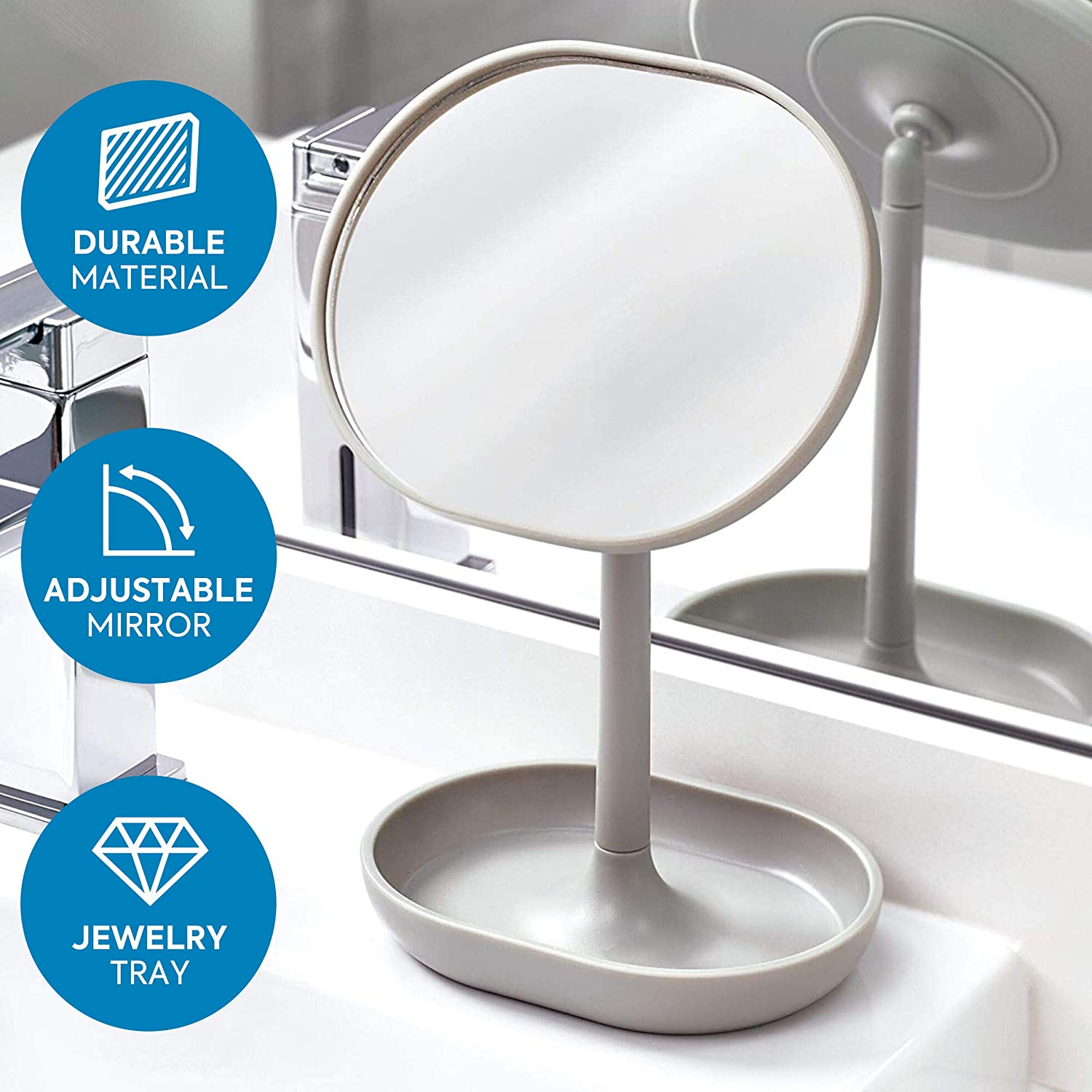 Black iDesign Makeup Mirror Small and Round Dressing Table Mirror Made of Plastic Adjustable Bathroom Mirror with Tray for Makeup and Jewellery